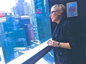 Annette Lizotte looking over Columbus Circle. The Mandarin Oriental Lobby Lounge, NYC 2014. Photo by V. Sprinkel