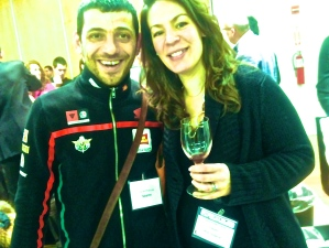Giampaolo Tabarrini (L), Dana Rubsam Penso (R). Vinitaly USA 2014. Photo by V. Sprinkel